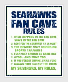 Seattle Seahawks Fan Can Rules Wall Art Instant by FunTimeCrafter 06d4b2334