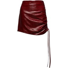 Magda Butrym Santa Maria Leather Skirt (£1,845) ❤ liked on Polyvore featuring skirts, mini skirts, red, red mini skirt, high waisted mini skirt, high-waist skirt, leather mini skirt and high waisted skirts