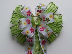 Easter Spring Bow Spring Decor Bow Lime Green by greentraderllc