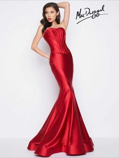 Mac Duggal Black White Red - 85595 Two-Piece Satin Sensation Long Gown In Red Red Formal Gown, Long Formal Gowns, Long Evening Gowns, Formal Dresses, Formal Wear, Glamorous Dresses, Beautiful Prom Dresses, Mermaid Prom Dresses, Mermaid Skirt