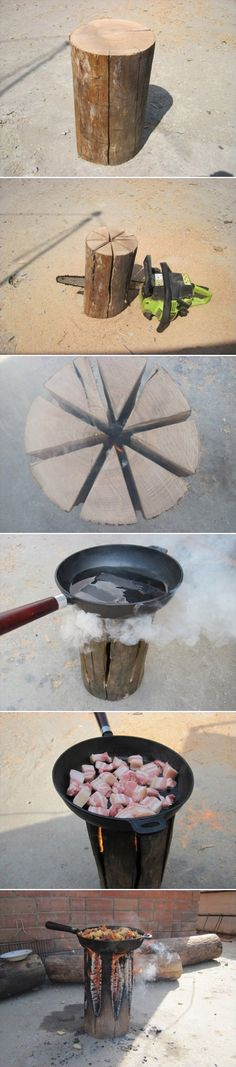 DIY Natural Log Stove