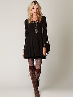 Tights with knee high socks and boots!!