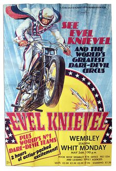 Evel Knievel at Wembley Stadium Original 1975 Poster | eBay