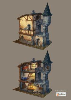 A man's tiny home is his castle Fantasy Places, Fantasy Map, Medieval Fantasy, Fantasy World, Writing Fantasy, Fantasy City, Fantasy Castle, Fantasy Artwork, Dark Fantasy