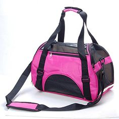 3 Colors Portable Pet Dog Cat Puppy Safety Carrier Case Comfort Car Travel Tote Shoulder Bag Backpack House Soft Sided Purse Handbag Crate Cage Kennel Pouch Airline Approved Pink M * Click image for more details.