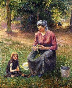 Mujer campesina con el Niño, Eragny - Camille Pissarro