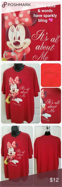 "Disney Minnie Mouse tee with sparkles! * Disney Minnie Mouse tee (Florida) * ""It's All About Me"" phrase :) * Size XL (may run a tad large) * Pre-loved condition with some crackling on hands & feet, but no holes or rips * Color:  Red * Measurements: * 21"" across shoulders  * 46"" chest  * 48"" hips * 27"" length  * Price firm unless bundling!  * Non-smoking home of Aurora33180 Disney Tops Tees - Short Sleeve"