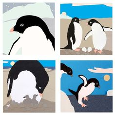 Penguin cards set of four by CarolineArnoldArt on Etsy