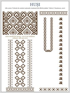 Semne Cusute: model de ie din Husi, MOLDOVA / embroidery patterns for the… Embroidery Motifs, Learn Embroidery, Cross Stitch Embroidery, Embroidery Designs, Cross Stitch Designs, Cross Stitch Patterns, Simple Cross Stitch, Embroidery Techniques, Needlework