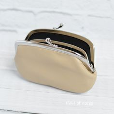 Women's Shimmery Gold Leather Wallet with Divider Coin Purse Leather frame purse