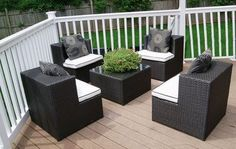 Deeco DM-GC-504 Art-Deck-Oh Geo Cube Interlocking All Weather Wicker Furniture Set by Deeco Consumer Products