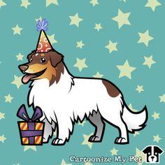 Birthday Chocolate Tricolor Aussie with a long tail.  #aussie #australianshepherd #shepherd #dogs #dog #cutedog #petlover #pets #pet #doglover #cartoon #birthday #happybirthday