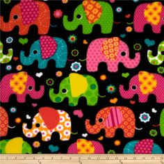 Winter Fleece Elephants Multi from @fabricdotcom  This soft, warm and cozy fleece is medium weight, double-sided and anti-pill. Perfect for throws, blankets, jackets, hats, mittens, scarves, slippers, pillows, vests, pullovers and much more!