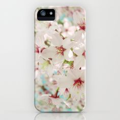 Cherry Blossom afternoon iphone cases and skins by Cally Creates   Society6. A peaceful moment in the garden with the blossom, the bees and the birdsong. (blossom - flowers - tree - cherry - prunus - sky - soft - pastel - stamen - cluster - floral - feminine - love) www.callycreates.blogspot.co.uk and www.facebook.com/cally.creates/