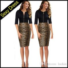 Brand New Leopard Working Pencil Dress Splice Slim Front Zipper Round Neck 3 4 Sleeve Black Knee Length Euro Women OL Working Dresses from Lockin,$9.3 | DHgate.com