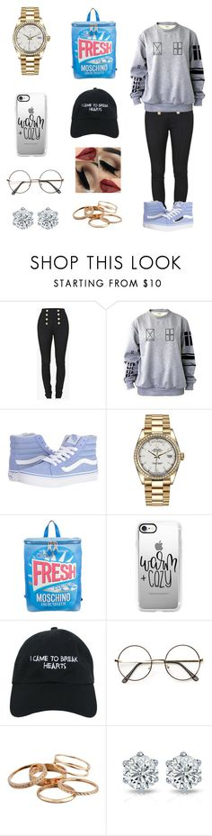 """🦄"" by dajahknox ❤ liked on Polyvore featuring Balmain, Vans, Rolex, Moschino, Casetify, Nasaseasons and Kendra Scott"