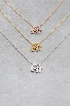 Cute elephant necklace in gold- rose gold- and silver.- | Gold Jewelry Rules Everything