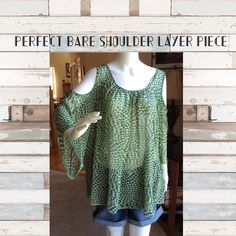 Bare shoulder layer blouse for summer Bare shoulder layer blouse for summer. This sheer top needs layered but is so lite weight and comfortable you will love showing it off! 100% polyester Made in the USA Tops Blouses