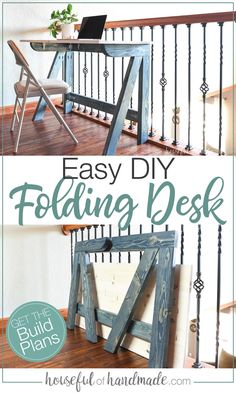 No desk, no problem! Build this easy fold-away desk for an office or crafting table. The desk quickly sets up and folds away for easy storage. Diy Furniture Decor, Diy Furniture Plans, Diy Furniture Projects, Woodworking Furniture, Diy Wood Projects, Furniture Arrangement, Diy Furniture For Beginners, Furniture Makeover, Wood Furniture