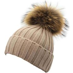 """Gellwhu Women Winter Detachable Large 7"""" Real Raccoon Fur Pom Pom Knit... ($18) ❤ liked on Polyvore featuring accessories, hats, knit pom pom beanie, beanie hat, knit hat, knit beanie caps and red knit beanie"""