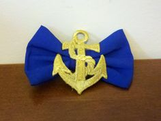 Gold and Blue Nautical Anchor Bow Hair Clip by WhimsyByKrista, $8.00