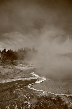Yellowstone National Park geyser. In sepia.