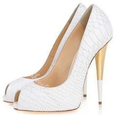 Shoespie Chic White Embossed Leather Peep Toe Stiletto Heels