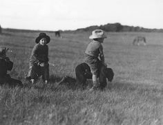 Little cowboys riding wild horses, ca. 1910s.  vintage everyday: Children Playing – Vintage Photos of Children's Fun That Could Have Lost Today