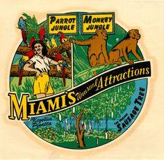 MIami's Unusual Attractions Decal (1950's)