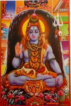 India Vintage Hindu Religious Print Shiva Dhyan rg305 picclick.com