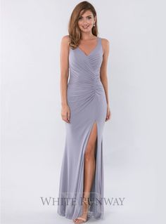Merlin Gown. A beautiful full length dress by Jadore. A flattering v-neck style featuring ruching throughout the bodice and tummy area.