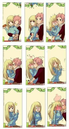 Something Natsu would do! XD thos shouldve happened in Fairy Tail OVA episode when they celebrated christmas Fairy Tail Lucy, Fairy Tail Nalu, Fairy Tail Fotos, Arte Fairy Tail, Fairy Tale Anime, Fairy Tail Family, Fairy Tail Guild, Fairy Tail Couples, Fairy Tail Ships