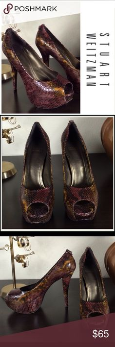 ⬇️PRICE DROP - STUART WEITZMAN Snakeskin Platforms Authentic Stuart Weitzman leather multicolored Snakeskin print 5 1/2 inch platform heels. In excellent condition with no visible scratches or marks. You will make a statement with these shoes!  Thanks for your interest!   Please take a look at the rest of my. Stuart Weitzman Shoes Heels