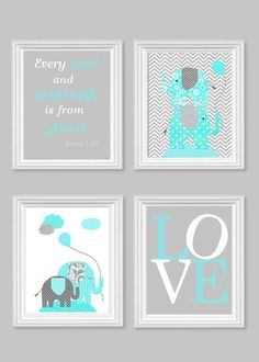 Elephant Nursery Art Gray and Aqua Gender Neutral Baby Decor Bible Verse Art Love Every Good and Perfect Gift Quote 8 x 10 or 11 x 14 Prints on Etsy, $45.00