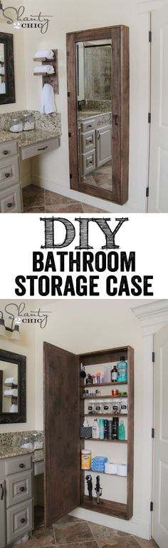 Adds full length mirror and tons of bathroom item storage. DIY Bathroom  Organization Cabinet with full length mirror…. LOVE THIS IDEA!