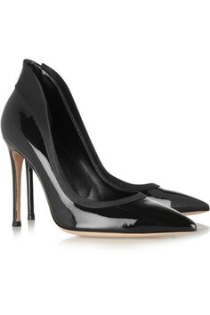 Gianvito Rossi Satin-trimmed patent-leather pumps