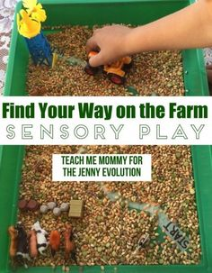 What if you could take a lentil sensory bin and turn it into a discovery maze! Farm Sensory Play activity has kids uncover the secret path to the finish!