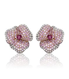 Pink Pave Diamond Flower Earrings    These 18k pink gold flower earrings are perfect for occasions when only the finest will do. Wear with a sweeping up-do to show off the light pink sapphire and white diamond embellishment