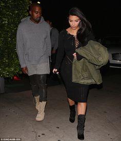 Kim Kardashian Dons Skintight Knit Dress and Mid-Calf Boots, Hot?   Buy ➜ http://shoespost.com/kim-kardashian-knit-dress-button-balmain-boots/