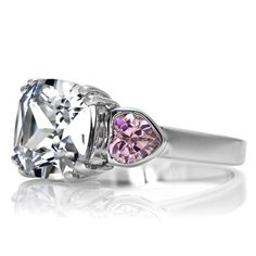 #Women's 5 Ct Cushion Cut and Pink Heart CZ #Three Stone #Ring #Sterling Silver 925   eBay $79.99
