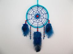 2.8'' Blue and Red Dreamcatcher  Wall Hanging by WindalaCrafts