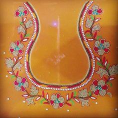 Choli Blouse Design, Hand Work Blouse Design, Best Blouse Designs, Simple Blouse Designs, Embroidery Suits Design, Hand Embroidery Designs, Mirror Work Saree Blouse, Maggam Work Designs, Baby Frocks Designs