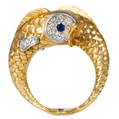 Boucheron Sapphire Diamond Gold Twin Fish Ring | See more rare vintage Cocktail Rings at http://www.1stdibs.com/jewelry/rings/cocktail-rings