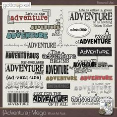 """Adventure Mega Pack"" by Word Art World - $2.50"