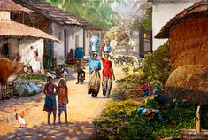 India Painting - Village Scene In India by Dominique Amendola Village Photos, Art Village, Indian Village, India Painting, Oil Painting On Canvas, Painting Frames, Village Scene Drawing, Indian Art Paintings, Oil Paintings