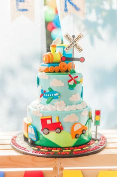 Plains, Trains and Automobiles Birthday Party Ideas - - Auto Mobile - Boys 1st Birthday Cake, Planes Birthday, Trains Birthday Party, Boy Birthday Parties, 60th Birthday, Birthday Ideas, Transportation Birthday, Cakes For Boys, Party Ideas