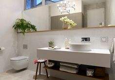 from the block glass house Australia powder room and laundry combined The Block Bathroom, The Block Australia, The Block Glasshouse, Laundry Powder, Glass House, Light Fittings, Powder Room, Double Vanity, Building A House