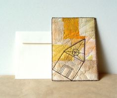 YOUR HOUSE, fabric postcard, quilted card, yellow beige.