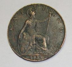 1921 Farthing Coin - George V - (UK) Great Britain (England)