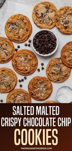 Salted Malted Crispy Chocolate Chip Cookies-buttery, thin, slightly chewy, crispy chocolate chip cookies loaded with chocolate and finished with flaky sea salt. Everything you want in a chocolate chip… Delicious Cookie Recipes, Fun Baking Recipes, Fun Easy Recipes, Best Cookie Recipes, Yummy Snacks, Yummy Food, Yummy Treats, Cake Recipes, Dessert Recipes
